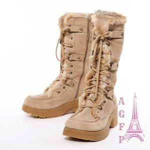 Report chunky platform tan tall suede winter boots
